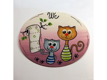 Dřevěná cedulka na dveře - WC - kočky