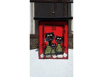 Poštovní schránka červená Kočky
