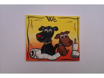Dřevěná cedulka na dveře - WC - psi