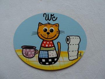 Dřevěná cedulka na dveře - WC - kočka