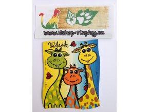 Dřevěná cedulka na dveře - VÍTEJTE - žirafy