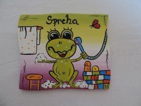 Dřevěná cedulka na dveře - SPRCHA - žába