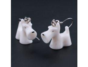 3D náušnice - knírač bílý