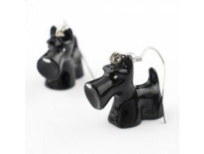 3D náušnice - knírač černý