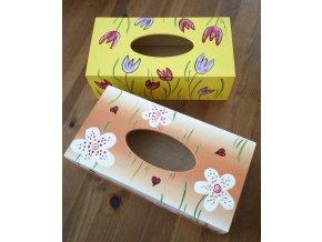 Dřevěná krabička na kapesníky 1ks květiny