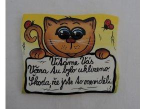 Dřevěná cedulka na dveře - VÍTÁME VÁS - kočka
