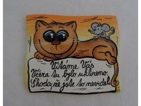 Dřevěná cedulka na dveře - VÍTÁME VÁS - kočka a myš