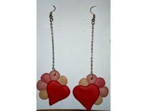 Náušnice FIMO - červené srdce
