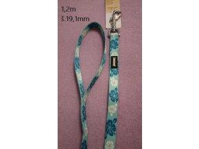 Vodítko Avenue nylon 1,2m - modré květy 1ks
