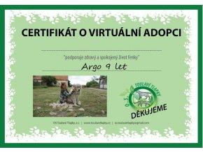 """Certifikát k adopci """"Argo"""""""