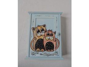 Schránka/domeček na klíče - Kočky modrá
