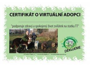 """Certifikát k adopci """"Zvířátka TT"""""""