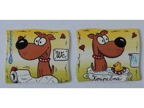 Dřevěná cedulka na dveře - KOUPELNA+WC pes