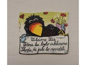 Dřevěná cedulka na dveře - VÍTÁME VÁS - vrána