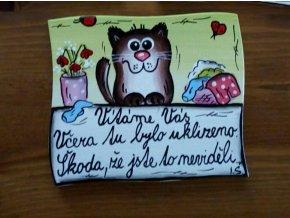 Dřevěná cedulka na dveře - VÍTÁME VÁS - kočka 2