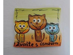 Dřevěná cedulka na dveře - Zvoňte s úsměvem - kočky