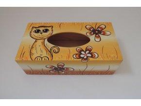 Dřevěná krabička na kapesníky - kočka