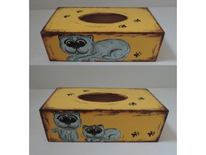 Dřevěná krabička na kapesníky - kočky