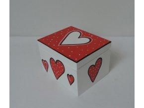 Krabička dřevěná - srdíčka