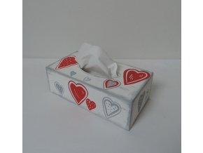 Dřevěná krabička na kapesníky - srdíčka