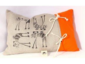 Pohankový polštář - štíhlé kočky, oranžový