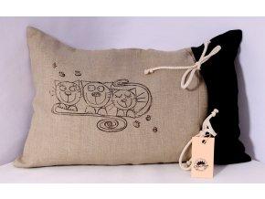 Pohankový polštář - ležící kočky, černý