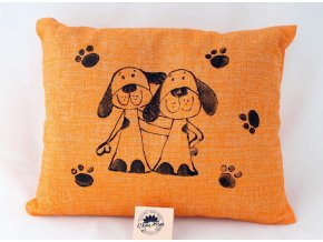 Pohankový polštářek s levandulí, oranžový, psi