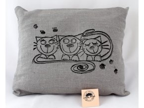 Pohankový polštářek s levandulí, šedivý, kočky