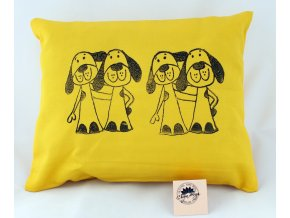 Pohankový polštářek s levandulí, žlutý, psi