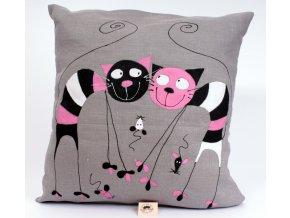 Polštář měkký - barevné kočky