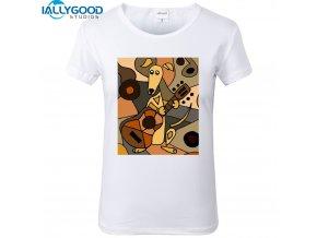 Dámské tričko - Obraz psa s kytarou
