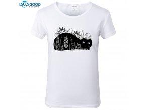 Dámské tričko - Černá kočka v trávě