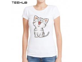 Dámské tričko - Smějící se kočka