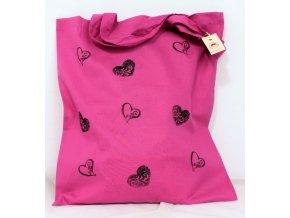 Taška plátěná růžová - srdíčka