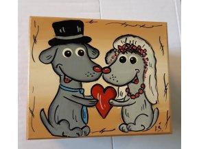 Krabička dřevěná - svatební