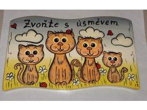 Dřevěná cedule - zvoňte s úsměvem - 4 kočky