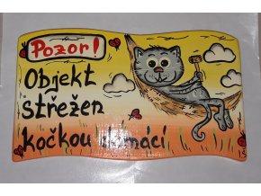 Dřevěná cedule - OBJEKT STŘEŽEN kočkou domácí - žluto/oranž.