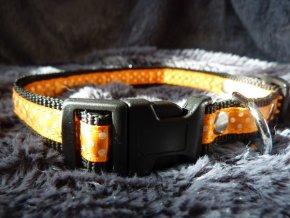 Obojek oranžový s puntíky M - L