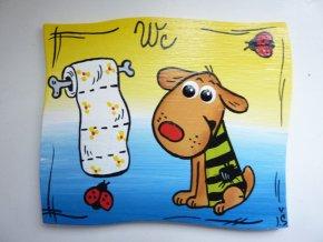 Dřevěná cedulka na dveře - WC - pes