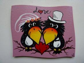 Dřevěná cedulka na dveře - LOVE