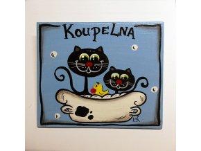 Dřevěná cedulka na dveře - KOUPELNA - kočky