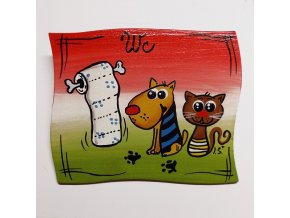 Dřevěná cedulka na dveře - WC - pes s kočkou