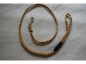 Ručně pletené vodítko 110 cm- žlutá, oranž, hnědá