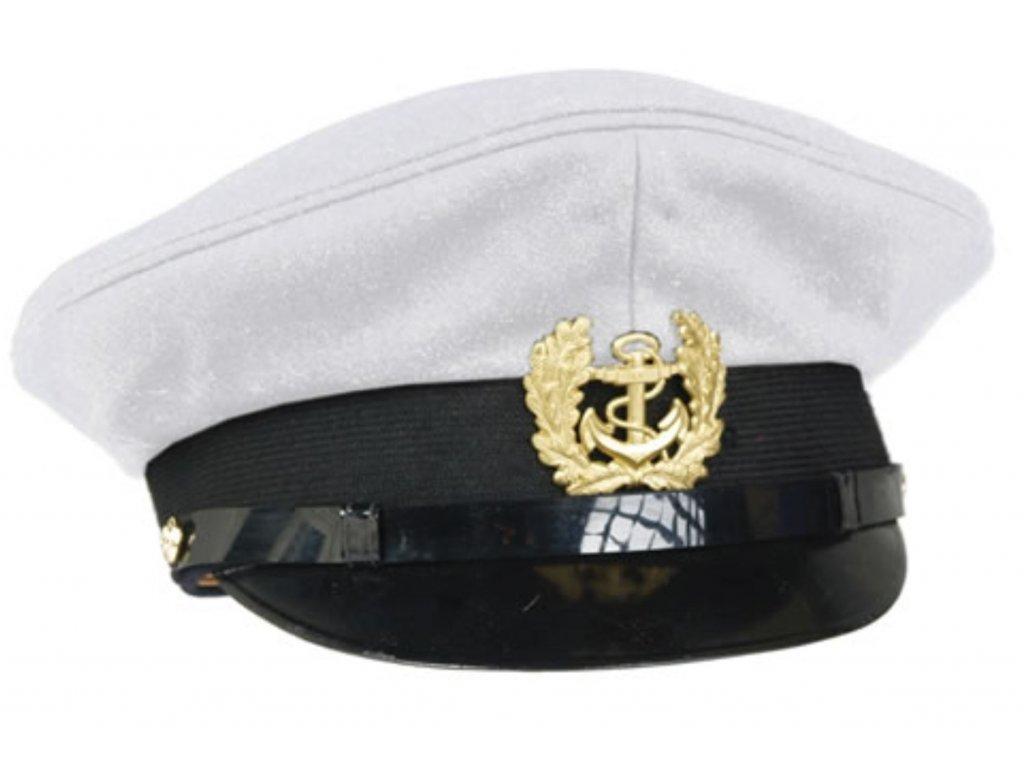 Čepice BW Marine námořnická kapitánská s odznakem BÍLÁ