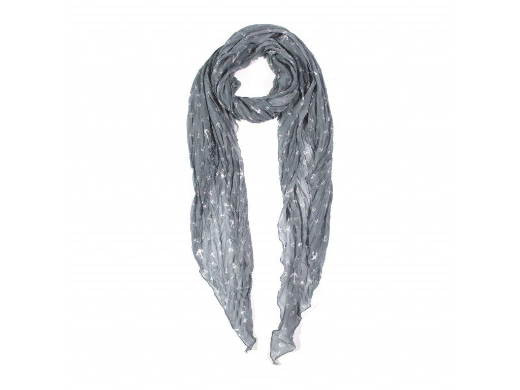 XL šátek námořnický s kotvami KOSENÝ barevný se vzorem 8B2 2863 Šedá ... d5fc86c802
