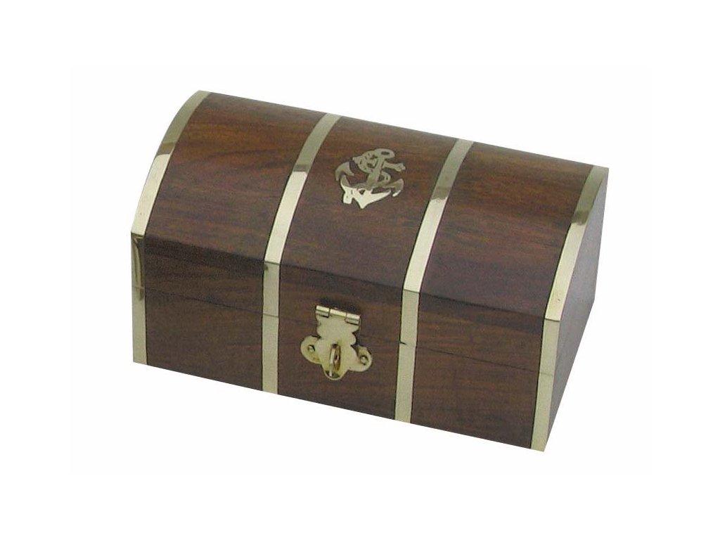 Dřevěná truhla - box s kotvou 14 cm