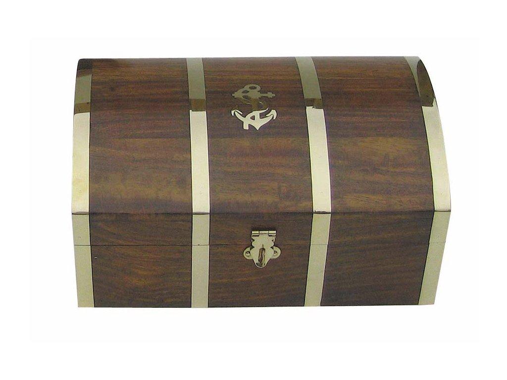Dřevěná truhla - box s kotvou 26 cm