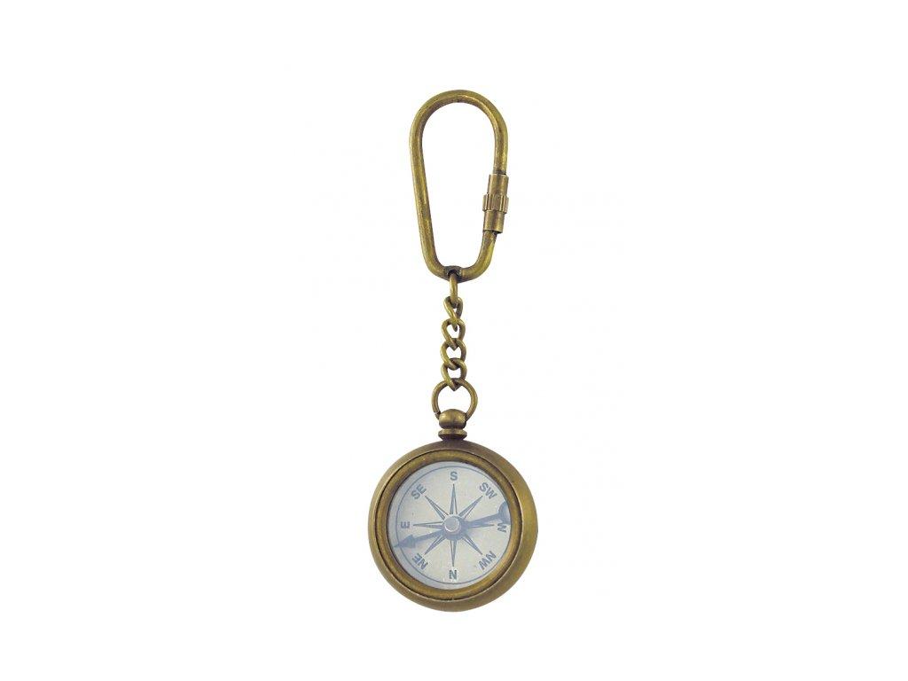 Přívěsek na klíče kompas mosaz antik