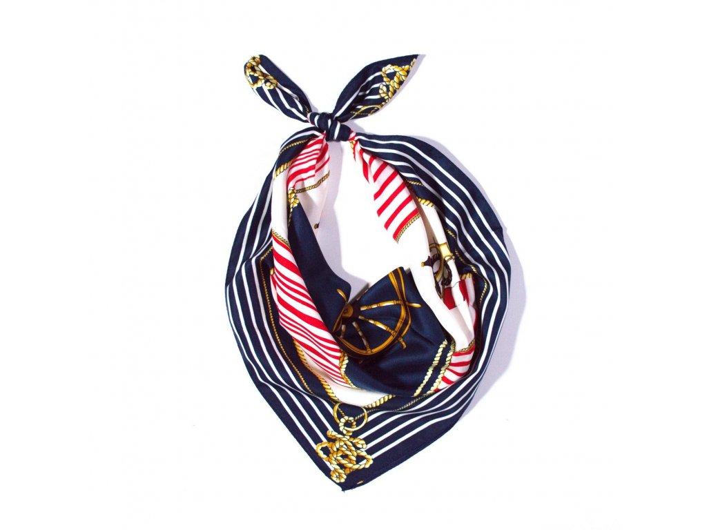 ac2fea3c7f5 Čtvercový šátek námořnický na krk 60cm 60cm
