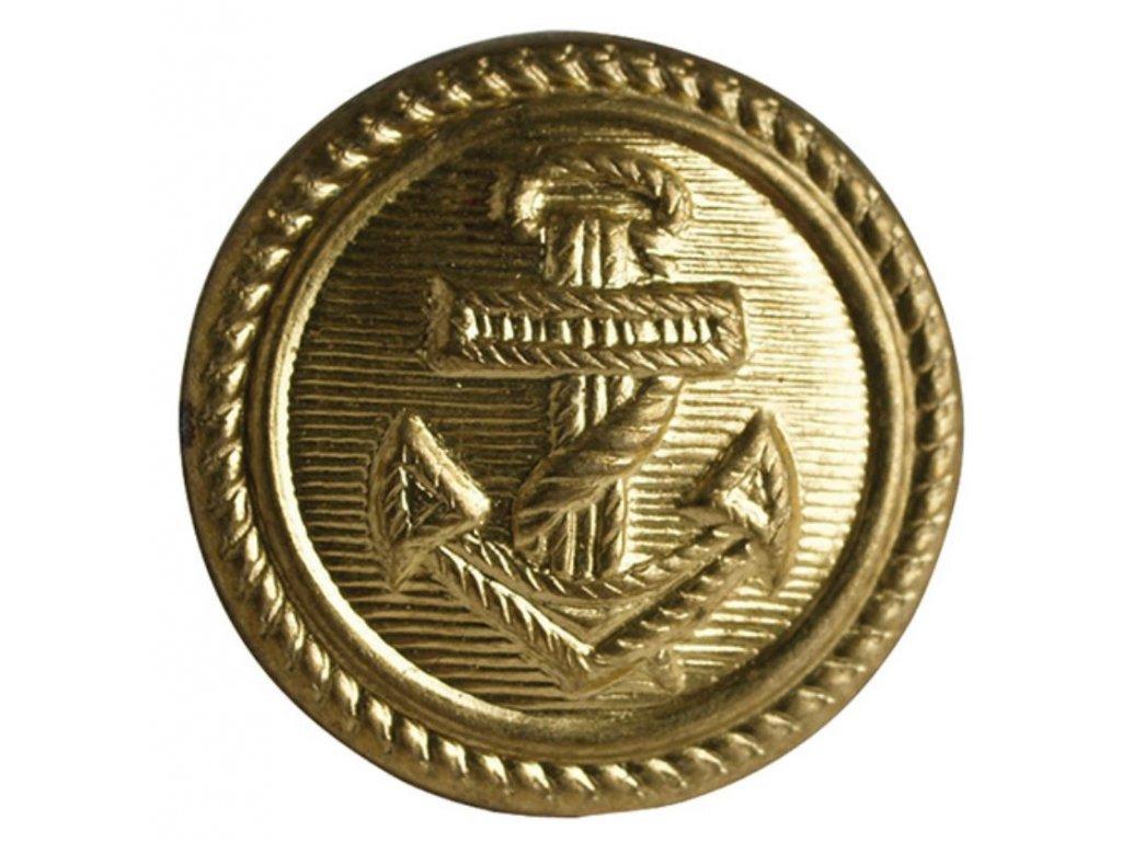Knoflík námořnický s kotvou zlatý 1,6 cm